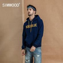 SIMWOOD 2020 automne hiver nouveau Indigo lavage sweats à capuche mode lettre imprimer Vintage sweat Hip Hop Streetwear à capuche 190396
