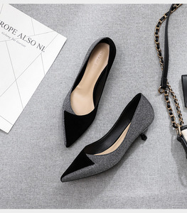 Image 4 - 2020 Shoes Woman Slip Ons Small Cat Thin Med Heels Pumps Solid Flock Bowtie Butterfly knot Office Lady Elegant Sexy Wedding Pump