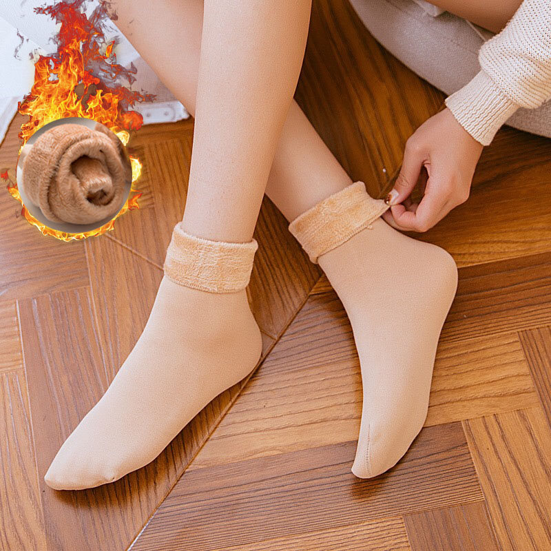 Warm Solid Color Thick Socks For Women Female Thermal Wool Cashmere Snow Socks Seamless Velvet Boots Floor Sleeping Socks