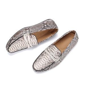 Image 5 - Fancy Exotische Echt Python Leer Soft Rubble Zool Mannen Flats Kleding Schoenen Authentieke Snakeskin Mannelijke Slip On Schoenen voor Suits