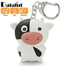 Porte-clés en forme de vache à LED, Mini jouets amusants pour enfants, avec son, lampe de poche, Animal, cadeau pour enfants, K390