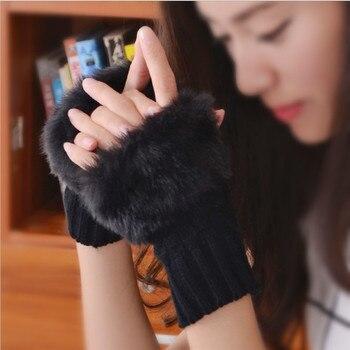 الشتاء الدافئ الصوف الفراء قفازات المرأة بسط المعصم أصابع الكبار الأزياء الصلبة القفازات القفازات غانتس فام 1