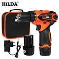 Hilda 12 v 전기 스크루 드라이버 전기 드릴 무선 스크루 드라이버 리튬 배터리 미니 드릴 전동 공구 무선 드릴