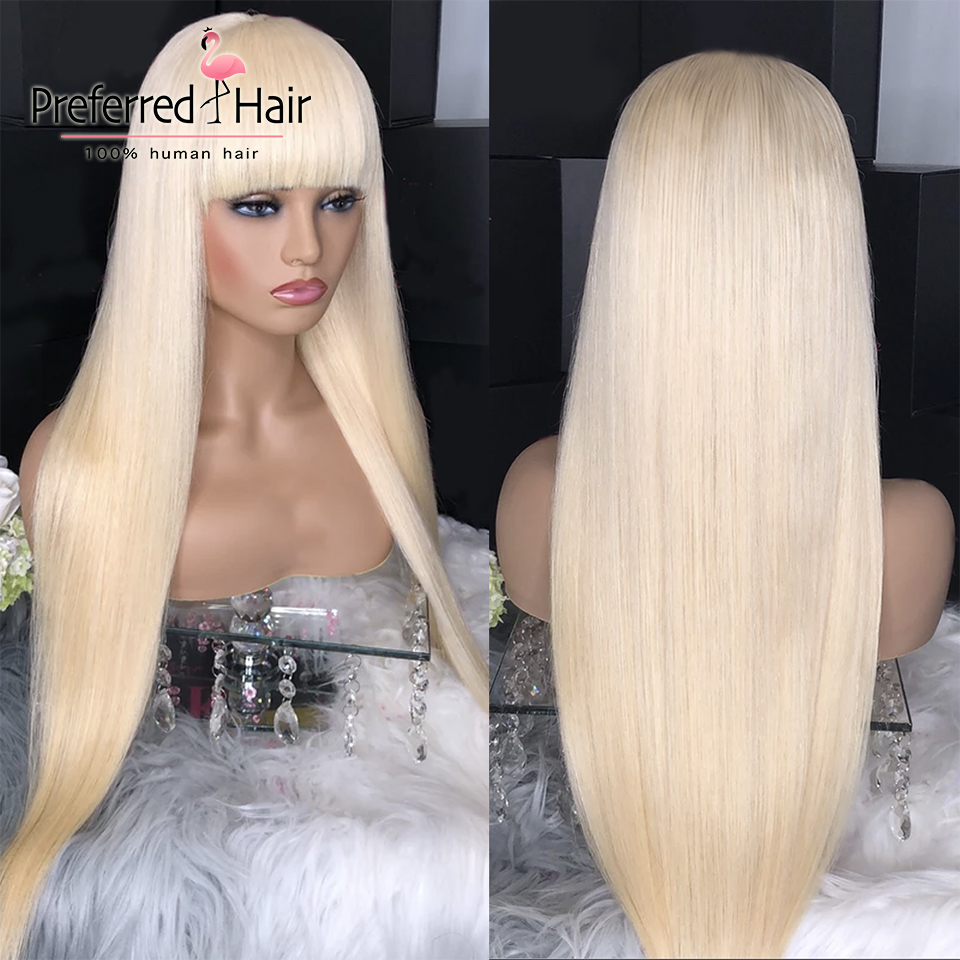 Preferred Full Bangs Platinum Blonde 13x6 Straight Lace Front Wig Brazilian Remy Purple Lace Front Human Hair Wigs For Women