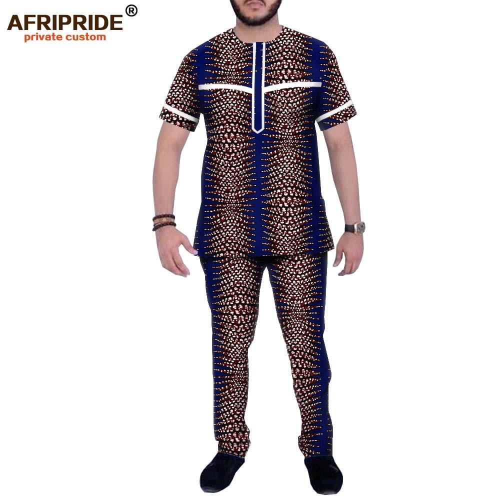 Dashiki Men African Clothing Dashiki Printed Tops And Pants Set Tracksuit Blouse Shirts Pockets AFRIPRIDE A1916065B