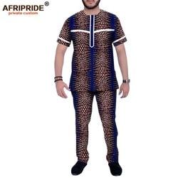 Dashiki Uomini Abbigliamento Africano Dashiki Stampato Magliette E Camicette e Pantaloni Set Tuta Camicetta Camicette Tasche AFRIPRIDE A1916065B
