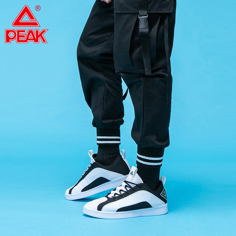 PEAK Men Skateboarding Shoes Lightweight Comfortable Trendy Sneakers Outdoor Street Walking Shoes Black White Casual Shoes