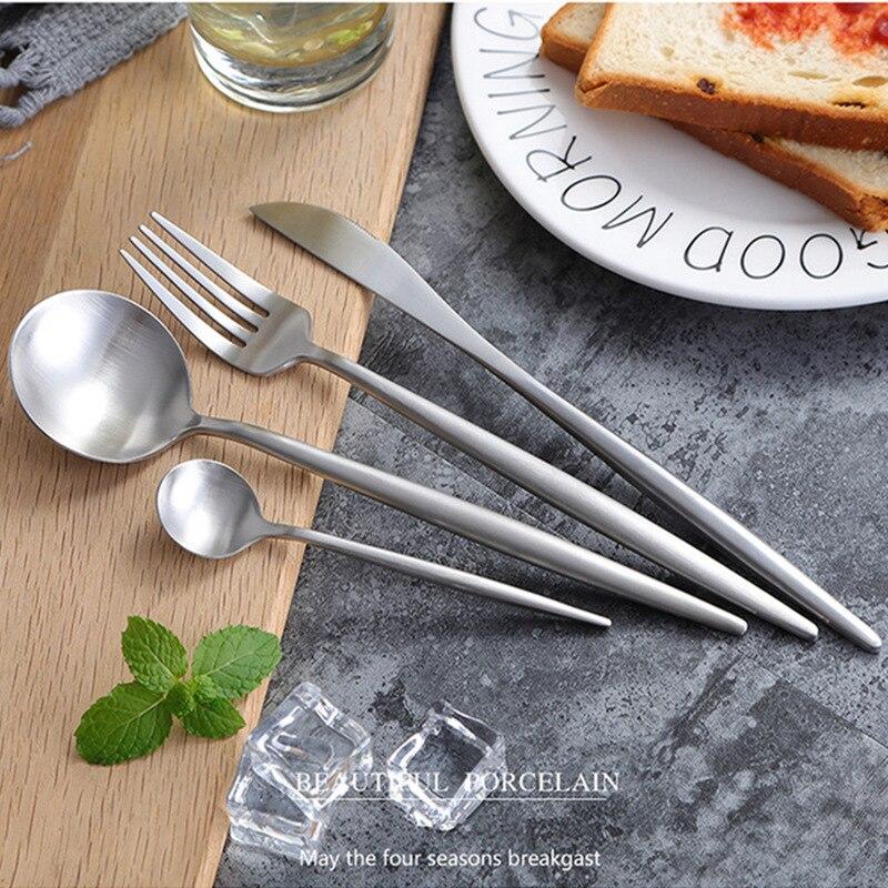 Hot Sale 24pcs Black Christmas Cutlery Set Wedding Dinnerware Forks Spoons Knives Scoop Set 304 Stainless Steel Silverware Set 5