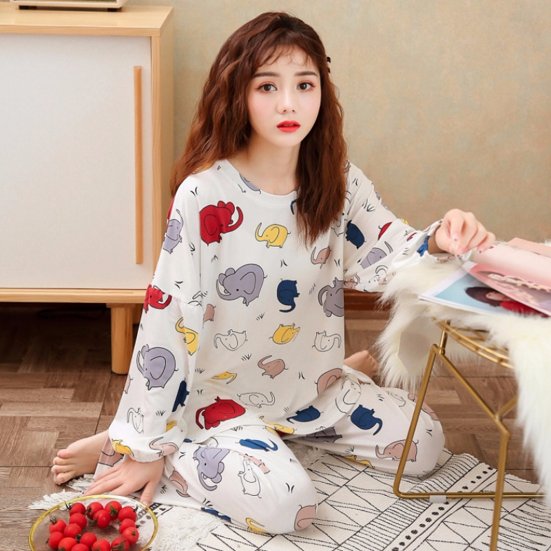 Wholesale Pajamas Sets Spring Autumn 2020New Thin Loungewear Cartoon Women Long Sleepwear Polyester Women Gift Girls Pyjamas Set
