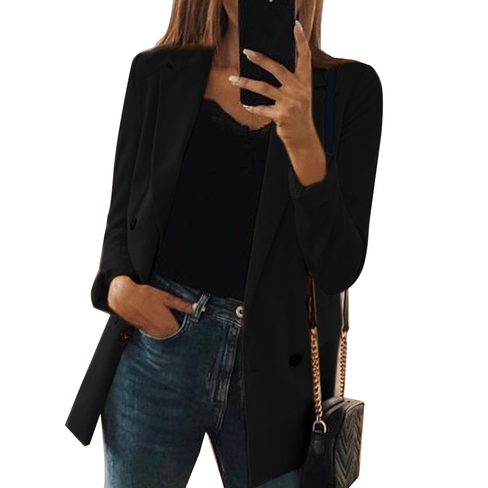 2019 Fashion Women Blazers Solid Color Turndown Collar Long Sleeve Tailored Suit Jacket CoatBlazer