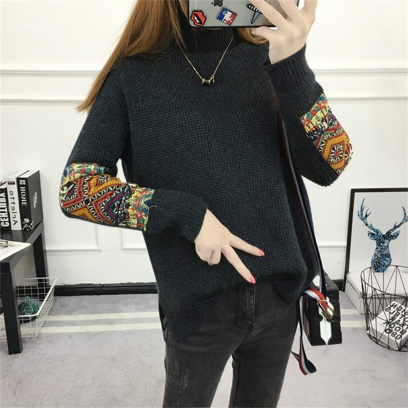 Women Vintage Turtleneck Sweater Jumpers Long Sleeve Solid Retro Pullover And Sweaters Irregular Split Sueter Mujer