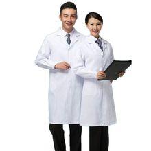 Для женщин и мужчин профессиональный медицинский белый лабораторный пальто Доктор Медсестры с длинным рукавом костюм воротник Униформа Спецодежда с пуговицами эластичные манжеты