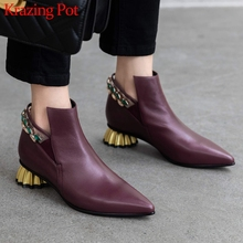 Krazing Pot new gorgeous crystal studded metal strange heels genuine leather pointed toe med heels winter women ankle boots L7f3