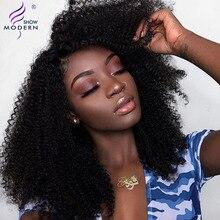 Modern gösteri saç moğol Afro Kinky kıvırcık peruk ön koparıp dantel Frontal İnsan saç peruk siyah kadınlar için Remy saç peruk