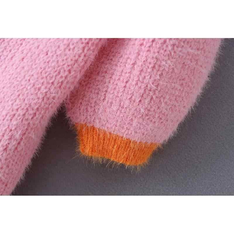 Розовый кардиган Женские свитера 2019 корейский короткий свитер желтые осенние Топы с пуговицами короткий кардиган с длинным рукавом и v-образным вырезом уличная одежда