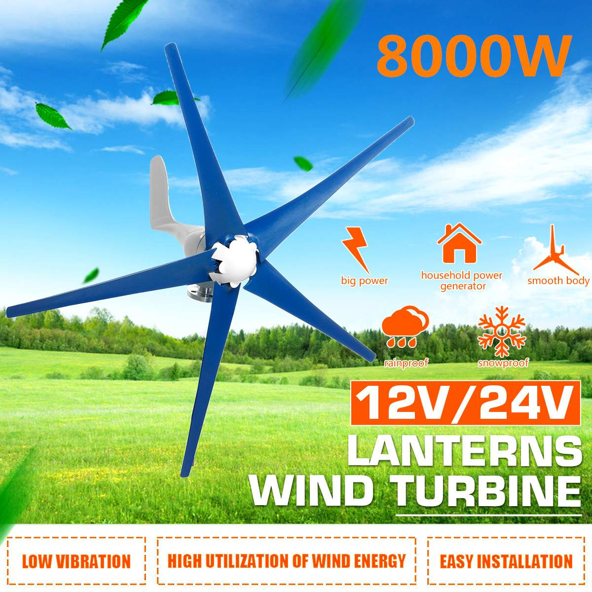 8000W 5 Blades Wind Turbines Generator Horizontal Wind Generator 12V/24V With Controller Windmill Energy Turbines Charge