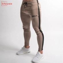 Siteweie 2020 algodão jogger calças de treino ao ar livre algodão trilha calça esportiva fitness dos homens ginásios moletom magro g252