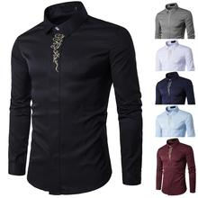 2019 Casual Long Sleeve Shirts Men New Summer Fashion shirt Male Clothes Slim Fit embroidery pattern Cotton EU size
