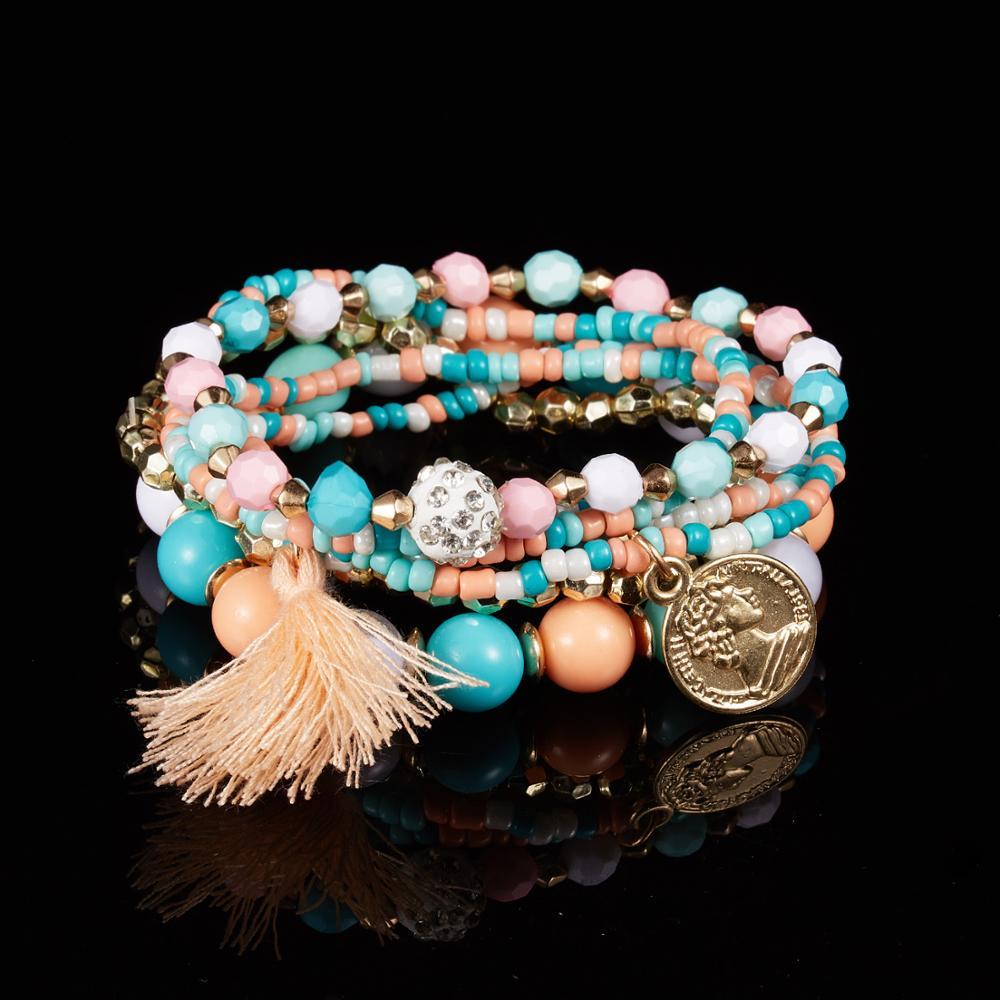 Vintage Cadeau Argent//Or Perles Femmes turquoises Bangle Bijoux Bracelet breloque