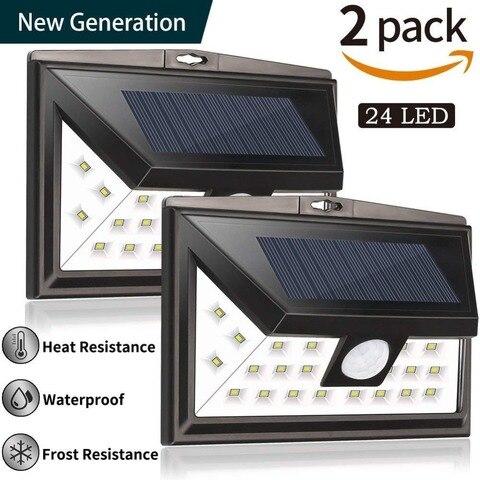 24 levou lampiao solar ao ar livre iluminacao noturna lampada de parede sensor de movimento