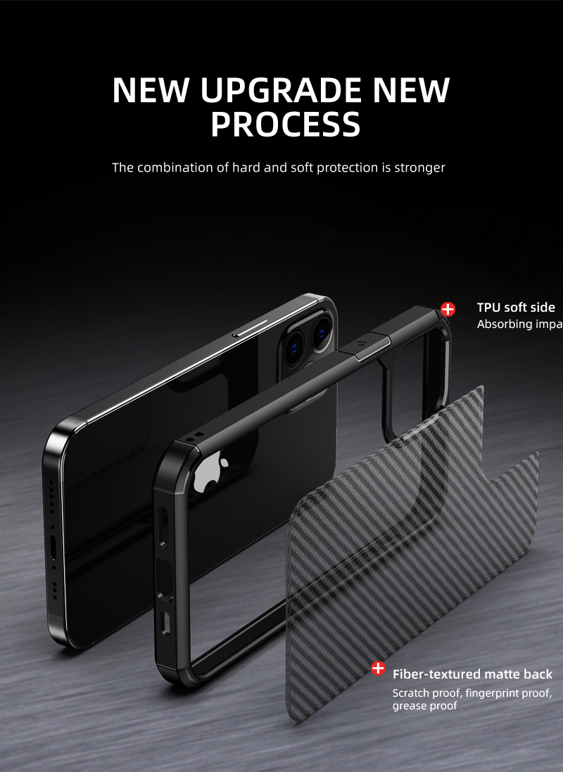 Clear Crystal Carbon Fiber Texture Durable Hybrid Soft TPU Bumper + Hard PC Back Cover Case for iPhone 12 Pro Max  4