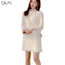 цена на dress Korean vestidos  summer new arrival OLN wholesale Trumpet sleeve mesh lace shirt + beaded water velvet dress female two-pi