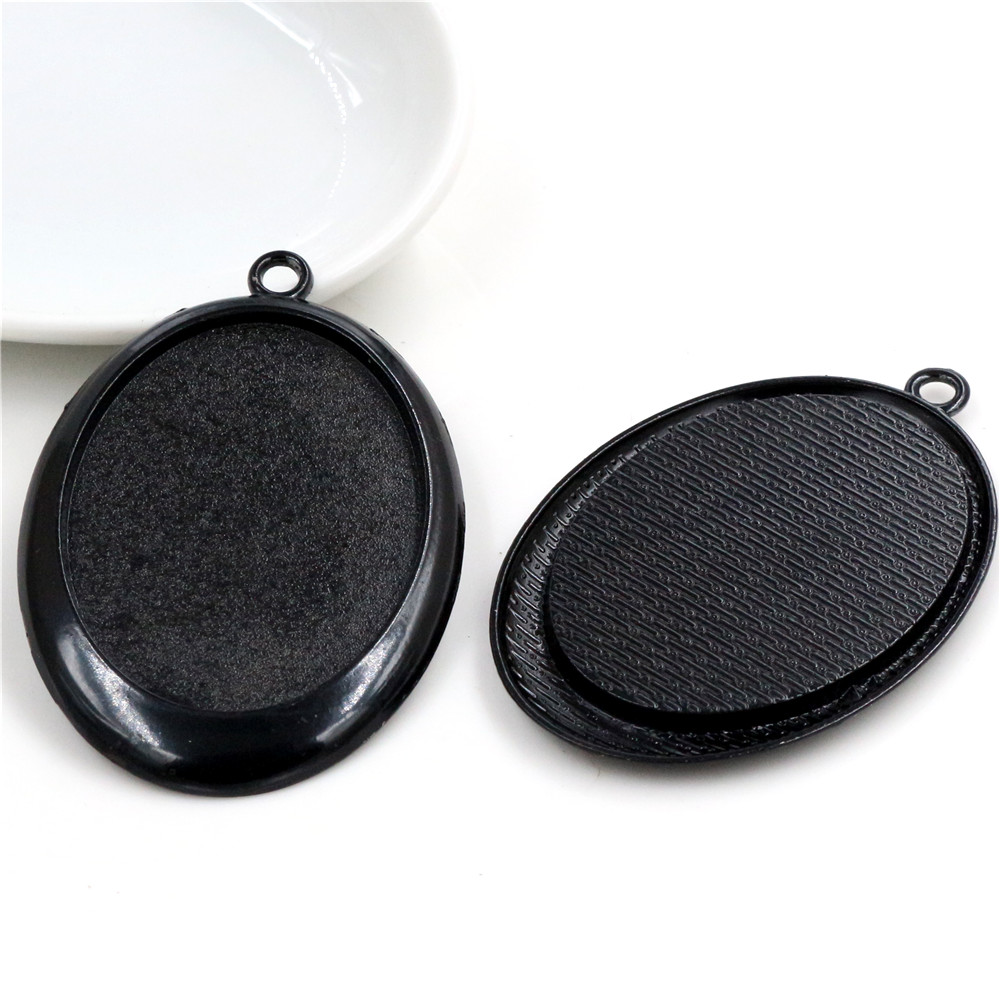 New Fashion  5pcs 30x40mm Inner Size Black  Simple Style Cabochon Base Setting Charms Pendant (B2-19)