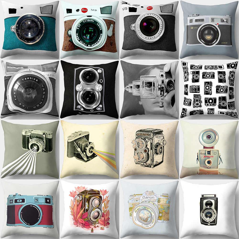 Kamera Retro Pola Pribadi Melempar Sarung Bantal Dekoratif Putih dan Hitam Seni Dekorasi Rumah Poliester Bantal Penutup 45*45 CM