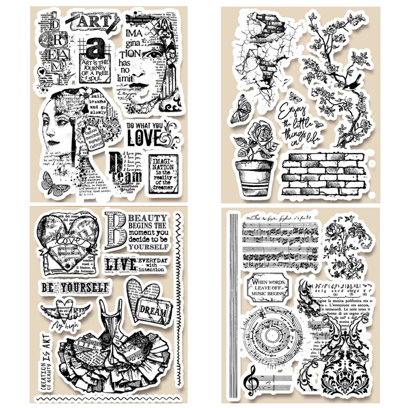 14 X 18 CM 2019 DIY New Stamps For Scrapbooking And Clear Stamps Card Making HD Natural Rubber Stamp Account Craft Set