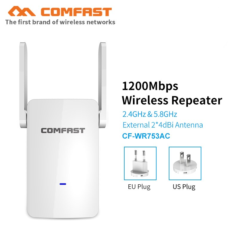 Comfast 1200Mbps High Speed Dual Band Wifi Signal Extender Booster 5Ghz Access Point  Wi-fi Repeater Router With Dual Antenna