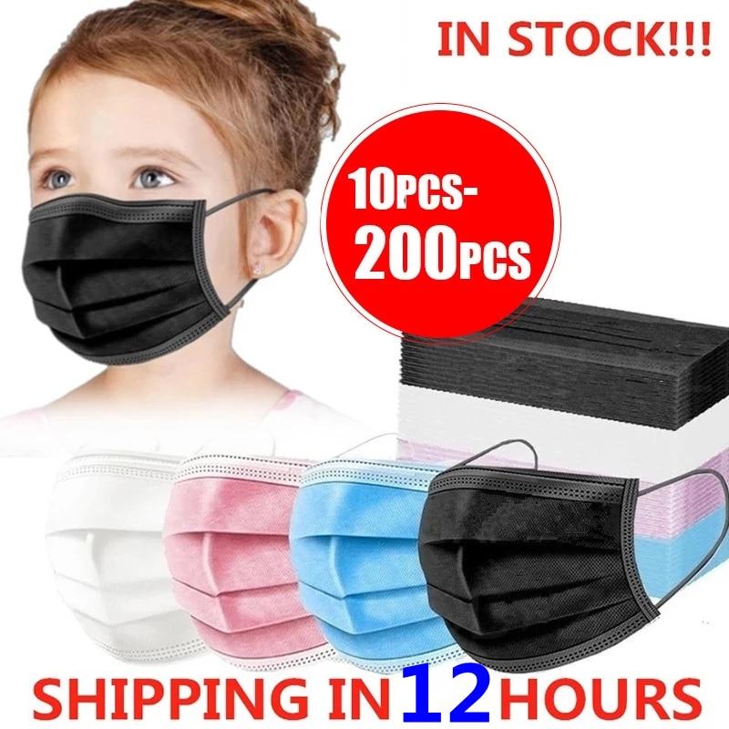 10-200 шт. ребенка, детей, с рисунком маски, одноразовые маски для лица 3 Слои фильтр против пыли гриппа ткань аэродинамическим способом из расп...