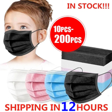 10-200pcs Child Kids Mask Disposable Face Masks 3 Layer Filter Anti Dust Flu Fabric Melt blown Protective Breathable Mouth Masks