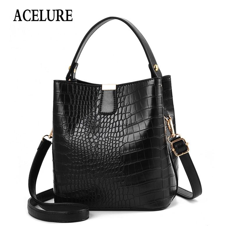 Crocodile Crossbody Bag For Women Shoulder Bag Designer Women Bag Luxury PU Leather Bag Bucket Bag Handbag Messenger Bag ACELURE
