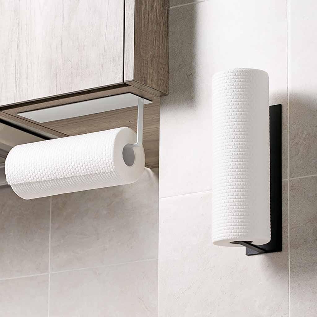Kitchen Self-adhesive Accessories Under Cabinet Paper Roll Rack Towel Holder Tissue Hanger Storage Rack For Bathroom Toilet