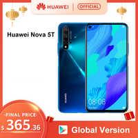Version mondiale Huawei Nova 5 T 5 T 8GB 128GB Smartphone 48MP caméras 32MP caméra frontale 6.26 ''plein écran Kirin 980 Android 9