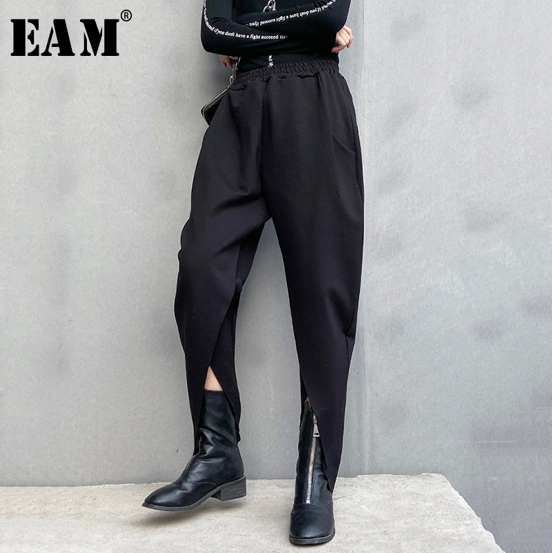 [EAM] High Elastic Waist Black Vent Split Long Harem Trousers New Loose Fit Pants Women Fashion Tide Spring Autumn 2020 1R457