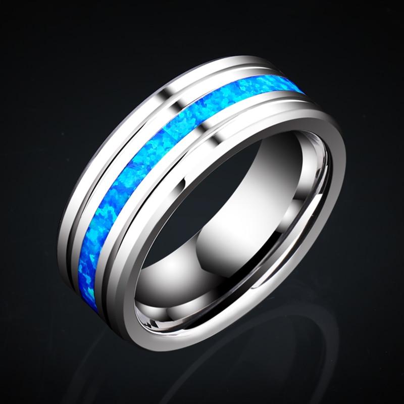 FDLK Новое высокополированное кольцо из нержавеющей стали 8 мм синий опал центральный паз из нержавеющей стали мужской свадебный браслет