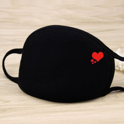 1PC Unisex Mouth Mask Solid Black Print Kawaii Face Cover Half Fashion Cute Breathable Warm Cotton Windproof Anti-Dust Masks