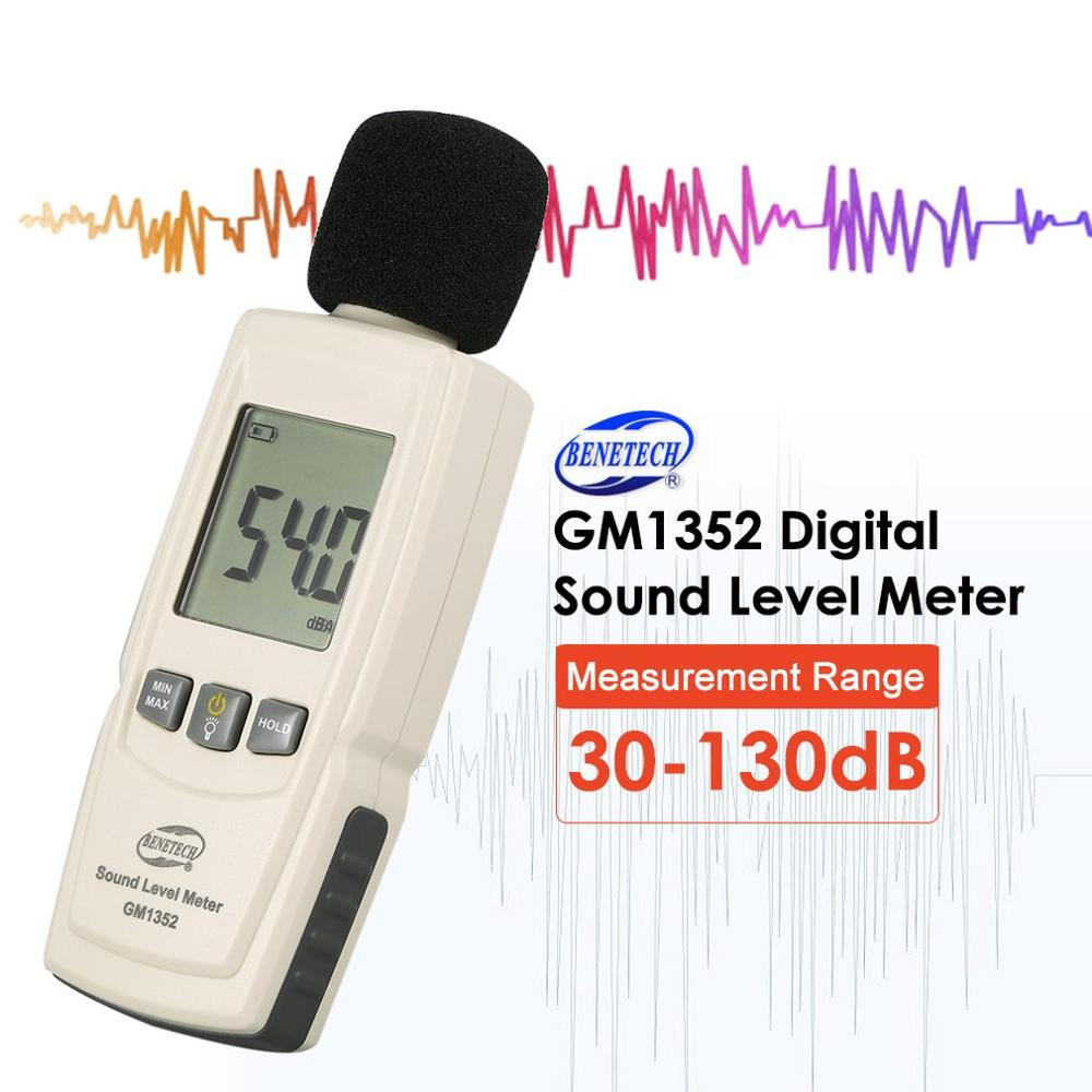 BENETECH GM1352 30-130dB Digital Sound Level Meter Noise Audio Volume Monitoring Test DB Decibels Detector With LCD Backlight