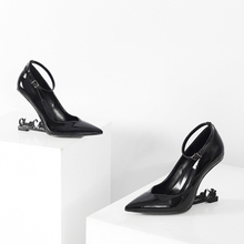 EMMA KING Black Patent Leather Women Pumps Sexy Strange High