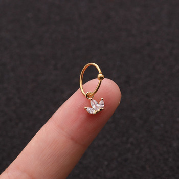 1 PCS Simple Small Zircon Crown Charm Ear Cartilage Cuff Clip Earring Trendy Gold Color Steel Circle Hoop Piercing Earring image