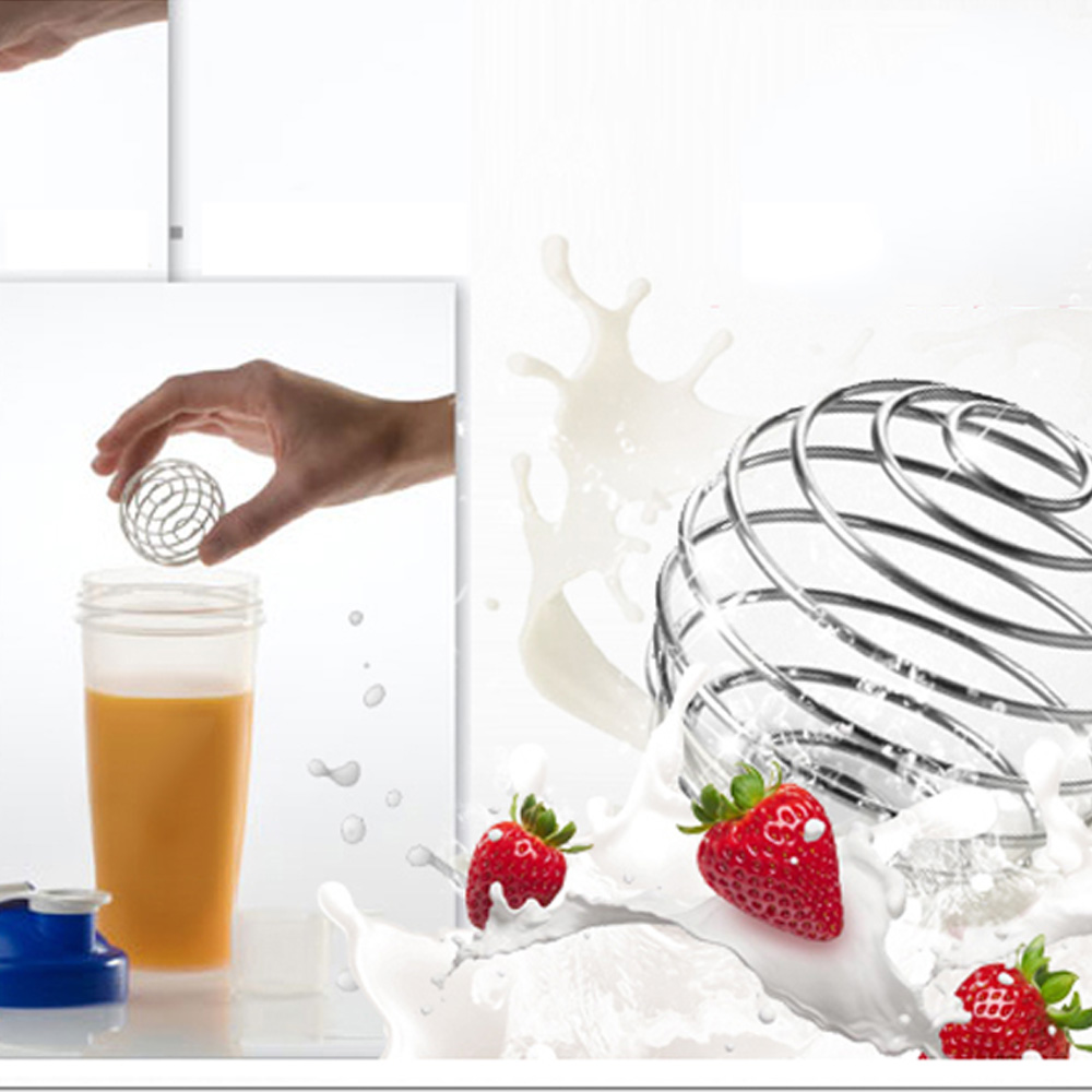 High Quality Stainless Steel Whisk Ball Mixed Shaker Protein Fitness Water Bottle Juice Milk Mixer Convenient Drink Gadget