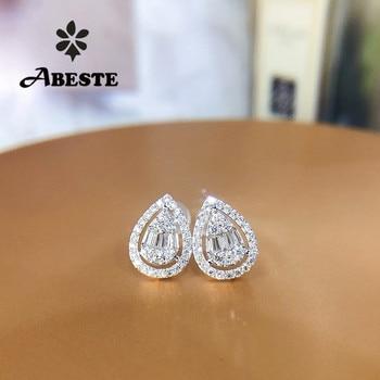 Женские серьги-гвоздики для помолвки ANI, 18 К, однотонные, из белого золота (AU750), 0,5 карат, сертифицированные круглые серьги с натуральным брил...