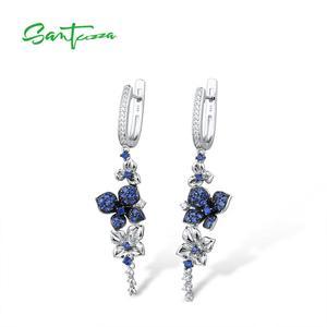 Image 2 - SANTUZZA Silver Earrings For Women Pure 925 Sterling Silver Dangle Blue Butterfly Earrings  brincos Fashion Jewelry