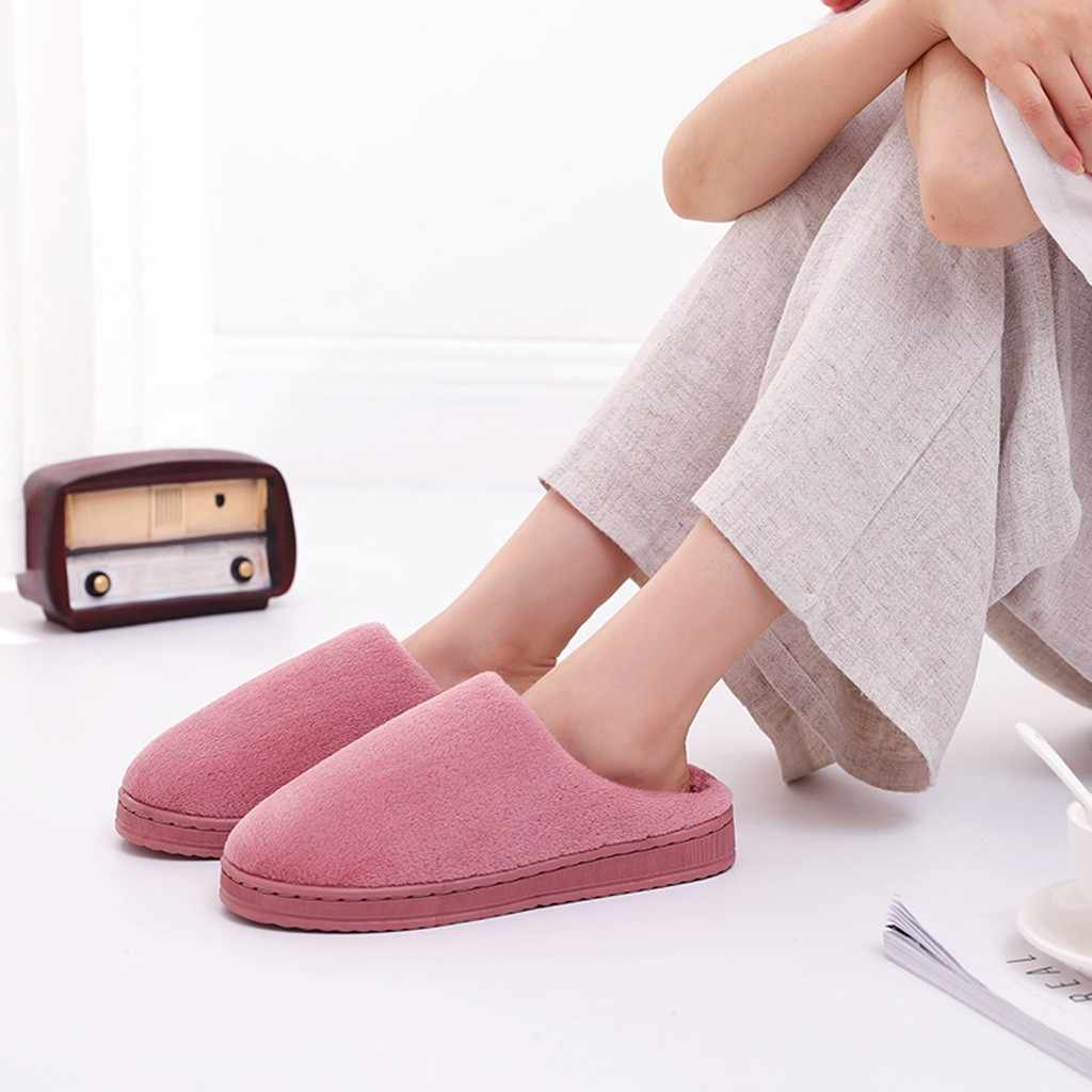 Women Slippers Bottom Soft Home Shoes Couples Solid Flock Warm Non-slip Floor Home Slippers Indoor Shoes zapatos de mujer