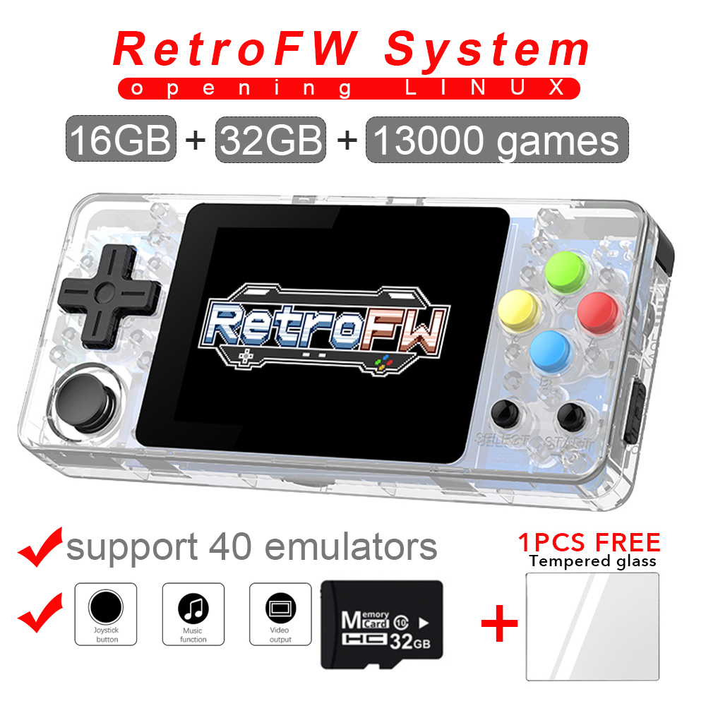 New LDK game console 2.7inch LINUX RetroFW system DIY retro game Video player 48GB built-in 10000 retro games 360 Degree Control
