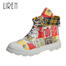 Liren 2019 Spring/Autumn PU Women Fashion Casual Ankle Lace-up Boots Round Wrapped Toe Flat Heels Mixed Colors Lady