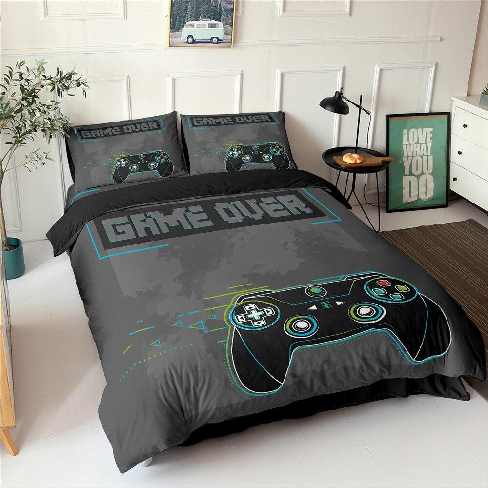 Gamepad Bedding Set Queen Size Duvet Cover Creative Black Comforter Bed Cover Set Housse De Couette Bedclothes 2/3pcs 10