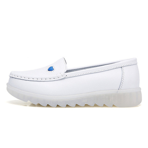 Image 3 - BEYARNE2019 New Women Flat Leather Shoes Casual White Wedge With Soft Bottom Slip On Love Heart Comfortable Mom Nurse Work Shoes