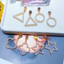 New Fashion Korea Design Metal Gold Geometric Irregular Circle Square Natural Freshwater Pearl drop Earrings for Women Girl Gift